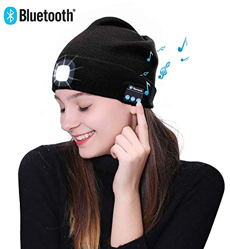 POEO LED beleuchtete Bluetooth-Beanie-Kappe, wiederaufladbare USB-Musikalische Laufmütze mit extrem hellem 4-LED-Licht wasserdichte Lampe für das Skifahren Wandern Camping Radfahren