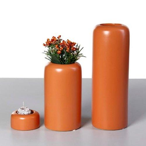 La vida cerámica Jarrón Maximo Naranja d10h18