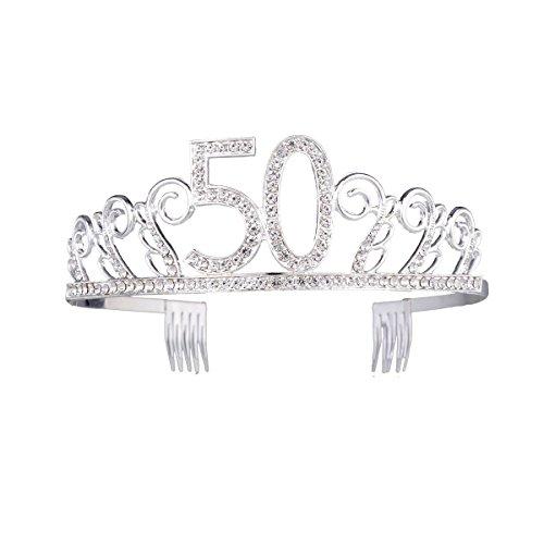 50th Birthday Crystal Rhinestone Tiara