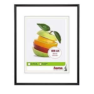 Hama Sevilla Bilderrahmen, DIN A4 (21 x 29,7 cm) mit Papier-Passepartout 15 x 20 cm, hochwertiges Glas, Kunststoff Rahmen, zum Aufhängen, schwarz