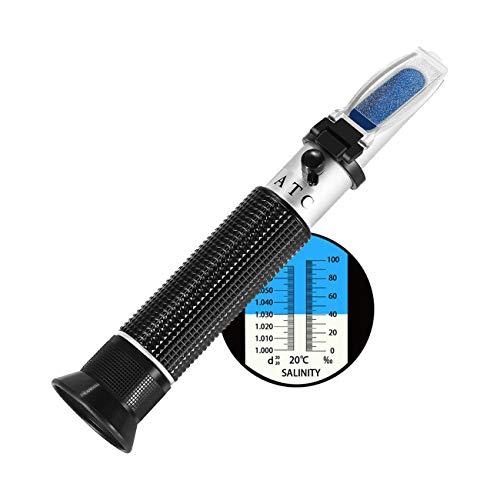 Meerwasser Salzgehalt Refraktometer,W-Unique Handheld Messgerät Salinometer Refraktometer 0-10% Salinitäts-Refraktometer und Spezifisches Gewicht 1,000 bis 1,070 für Salzwasser Aquarium, Hydrometer