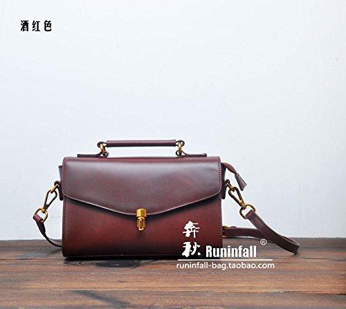 Baodan cuir simple en cuir vintage sac de messager d'épaule de sac à main sacs à main carré simple Wine Red