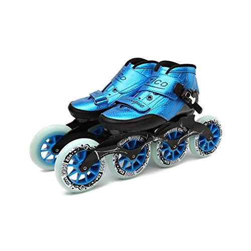 Ailj Erwachsene Professionelle Rollerblades, 4 * 90-110MM Räder Profi-Rollschuhe Aus Kohlefaser Für Damen Schwarze Inline-Speedskates Rot Blau (Color : Blue, Size : EU 37)