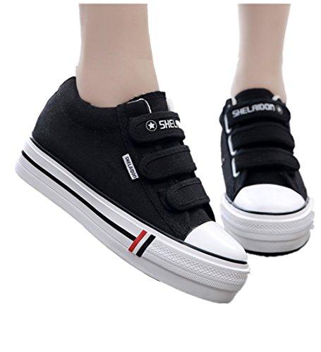 Wealsex Sneakers Basses Plateforme Talon Epais Femme Baskets Mode Scratch Chaussures Toile Casuel Noir