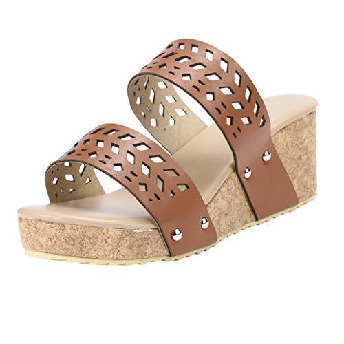 Epig beiläufige Frauen-Sommer-Art- und Weisekeile beschuht Retro- Peep Toe Slipper Hollow Carved Slipper