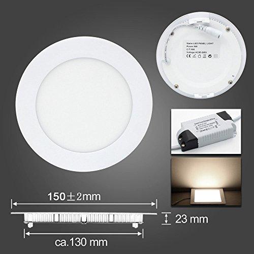 BAODE 6-24W LED Panel Leuchte Dimmbar Deckenlampe Rund Ultraslim Einbaustrahler (9W/130-150mm, Warmweiß)
