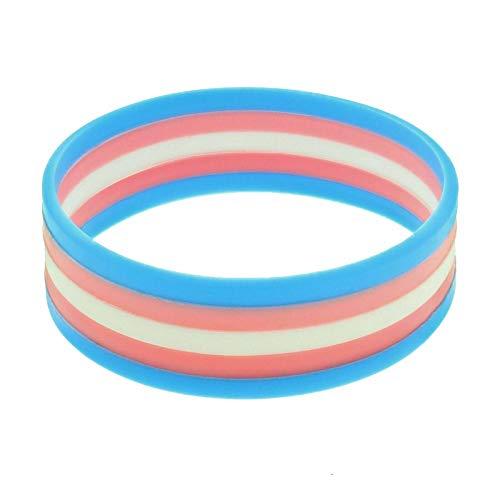 Gay Pride Zubehör - B-Creative 5 x Transgender-Armband aus Silikon
