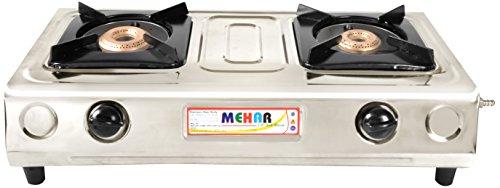 Mehar Stainless Steel 2 Burner Gas Stove, Silver
