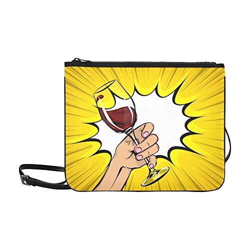 WOCNEMP Prost mit zwei Gläsern in der Hand Muster benutzerdefinierte schlanke Nylon-Handtasche Umhängetasche Umhängetasche