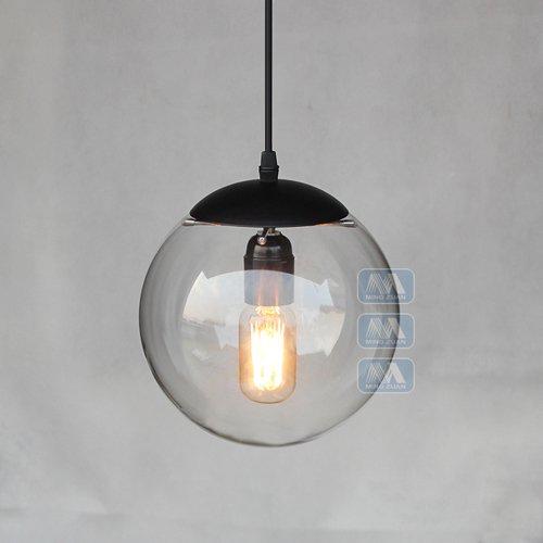 Hines Glas Pendelleuchte, kreative Vintage Industrial Metal Finish Klarglas Ball Runde Schatten Loft Pendelleuchte Retro Deckenleuchte Vintage Lampe (Size : 20cm/7.87in)