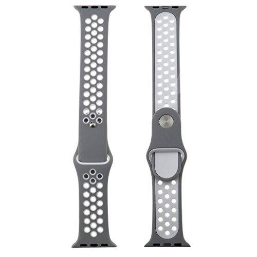 Preisvergleich Produktbild Für Apple Watch iWatch 42mm Sport Silikon Ersatz Band Armband Silber+Weiß