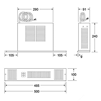 Smiths 2kW Electric Kitchen Plinth Heater SS2EW with Brushed Steel Effect Grille - Room size upto 29 cubic metres - 5 Years Parts & Labour Warranty