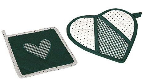 Topflappen 2er Set mit Herz Stickerei grün-weiß kariert (Herz-topflappen)