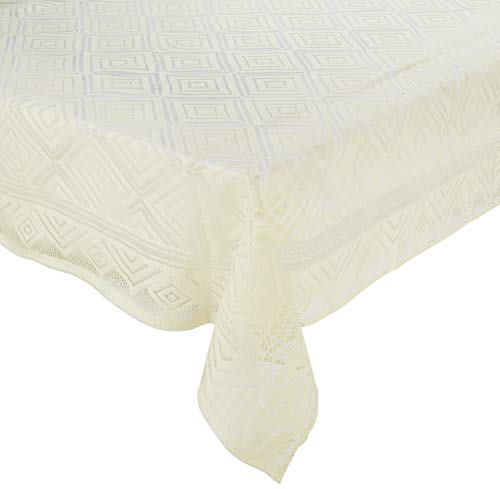 Amazon Brand - Solimo Dining Table Cover, Squares, Cream