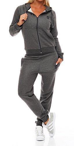 Gennadi Hoppe Damen Jogginganzug Trainingsanzug Sportanzug, grau,L