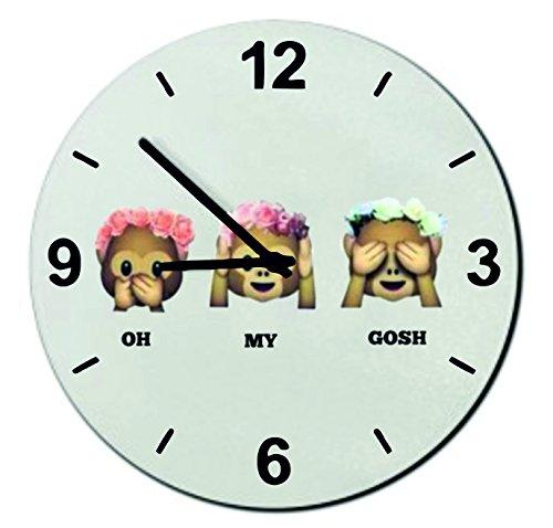 """Orologi da parete Ø18 cm """"Three Monkeys donne Oh My Gosh con rose"""" Orologio vetro - Smiley - Emoji - Punte di Natale"""