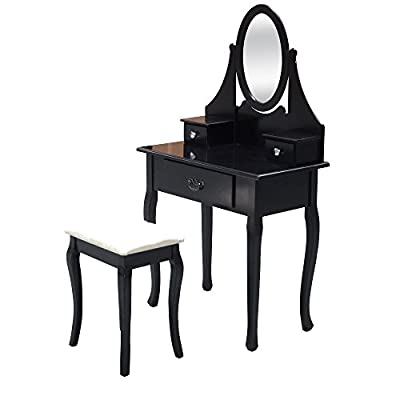 Shabby Chic White or Black Dressing Table Vanity Makeup Table Dresser Storage Mirror