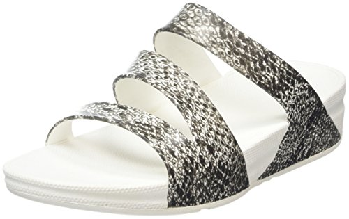FitFlop Superjelly Twist Snake, Sandales  Bout ouvert femme Multicolore (Black/white)