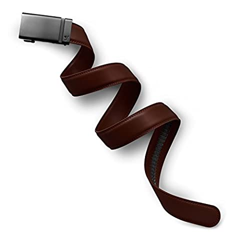 Mission Belt Men's Ratchet Belt - 35mm Gun Metal Buckle / Chocolate Brown Leather Strap, Medium (33 - 35)