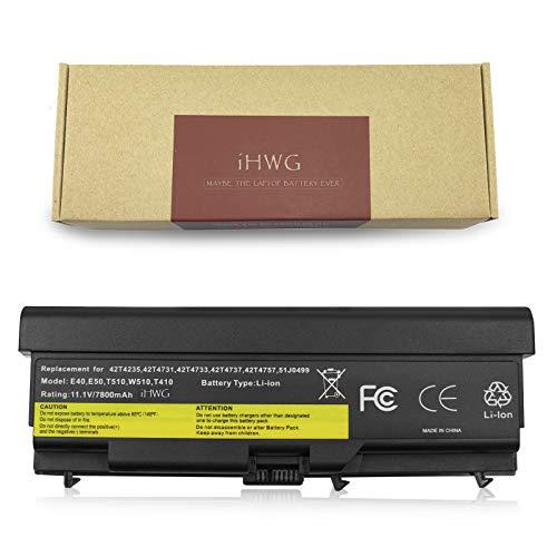 0578 Laptop Akku (iHWG T410-9 Batterie für Lenovo ThinkPad T410 T420 T510 T520 SL510 E40 E50 0578 E420 Serie, Kompatibel E525 L410 L412 L420 L421 Sl410 Sl510 W510 W520 0A36303 42T4751 [11.1V / 7800mAh])