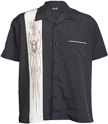 Rock Steady V8 Pinstripe Panel Hot Rod Button Up Bowling Shirt Hemd (Panel Button-up-shirt)