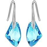 Swarovski Pendientes - Aretes de Plata Fina 925 para Mujeres con Cristales Swarovski de GoSparkling: NUEVO diseño de cierre seguro, pendientes largos de fantasía con dije