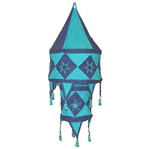 Pantalla lámpara india azul-turquesa algodón 60 cm oriental para colgar decoración