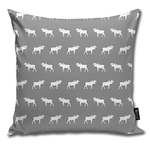 Ruffled Shell (Moose Light Grey Moose Kids Cute Moose Decorative Modern Pillow Cover Square Luxury Cushion Case Durable Throw Pillow Cover Shell for Couch Sofa Bed Living Room 18x18 Inch)
