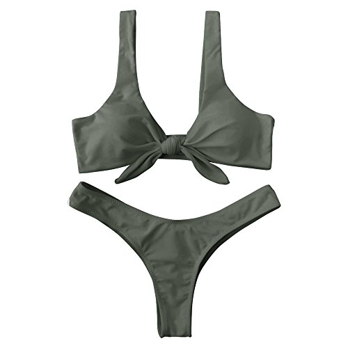 ZAFUL Damen Bikini Set Geknoteter gepolsterter Bikini-Set mit T-String Einfarbig Bikiniset Badeanzug Bademode Swimwear Swimsuit Grün X-Large