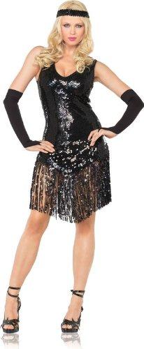 Girl Kostüm Gatsby Schwarz - Leg Avenue - Gatsby Girl Kostüm 3-teilig - XL - Schwarz - 83495