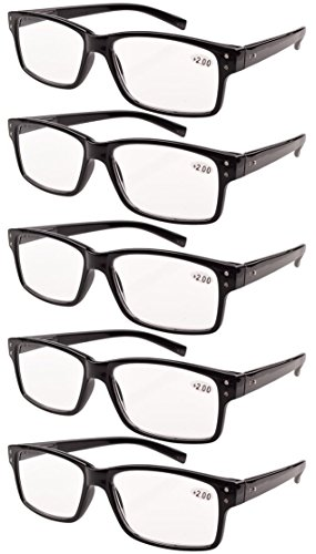 Eyekepper 5 paia Occhiali da Vista Presbiopia Montatura Cerniere a Molla per Uomini Donne (Nero, 2.00)