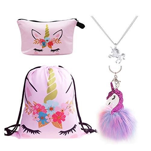 DRESHOW 4 Pack niedliche Unicorn Kordelzug Rucksack/Make Up Tasche/Legierung Kette Halskette/Fluffy Anhänger Schlüsselanhänger Schlüsselanhänger Handtasche