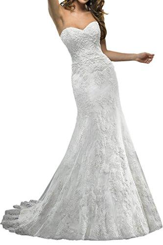 Royaldress Elegant Elfenbein spitze Traegerlos Hochzeitskleider Brautkleider Brautmode Schmaler...