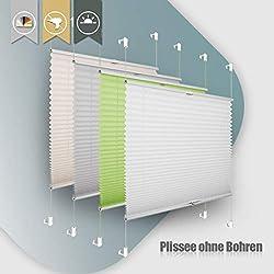 Plissee ohne Bohren klemmfix Jalousie Sonnenschutz Easyfix Faltrollo Crushed Optik Lichtdurchlässig Rollo für Fenster Tür Weiß 100x100cm(BXH)