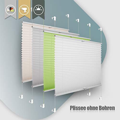 Plissee ohne Bohren klemmfix Jalousie Sonnenschutz Easyfix Faltrollo Crushed Optik Lichtdurchlässig Rollo für Fenster Tür Weiß 80x120cm(BXH)