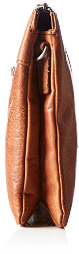 Spikes & Sparrow Damen Zip Bag Umhängetasche, 6x19x30 cm Braun (Brandy)