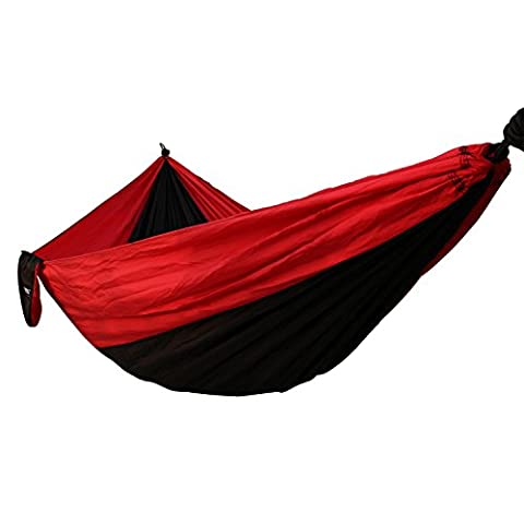 Hammock IMISI Portable Parachute Nylon Fabric Travel 400lbs Ultralight Military Grade Camping Hammock Set 108 Inch Long 55 Inch Wide Double Wide Outdoor Travel Multifunctional Lightweight Suspension System Compact Comfort for Backyard Indoor Outdoor Hiking Beach Travel (Black + red)
