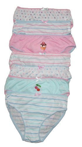 Childrens 7 Pack Girls Knickers Briefs (3-4 yrs, Pale Pinks)