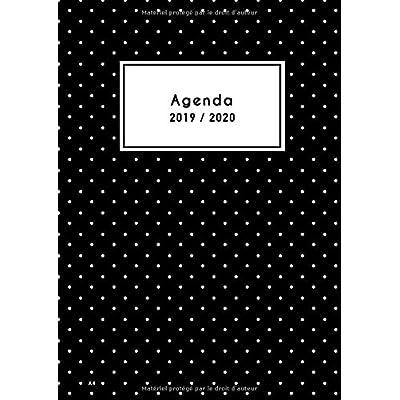 Agenda A4 2019 2020: Agenda Semainier 18 Mois 2019 / 2020 - Grand Format 21x29,7 cm - motif à pois noir - Agenda de Juillet 2019 à Décembre 2020 - vertical