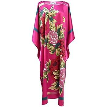 Taille Unique Robe Dinterieur Kimono Femme Robe De Chambre Style Boubou Satine Fushia