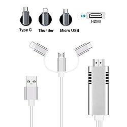 MHL HDMI Kabel, Tiancai 1080P USB C Micro USB Blitz auf HDMI 3 in 1 Adapterkabel für Smartphone Tablet auf TV Projektor Monitor, kompatibel mit Huawei/Samsung Galaxy Note/Sony/LG