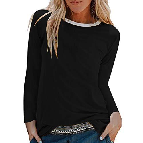 Damen Sommer Herbst T-Shirt O-Ausschnitt Lange Ärmel Hemd Lose Beiläufige Frauen Sexy Gradient Bedruckt Stretch Jahrgang Weste Yoga Solide Baumwolle Polyester Sweatshirt Bluse Top (EU:38, Schwarz)