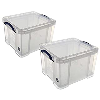 Really Useful 35 Litre Plastic Storage Boxes - Clear (Pack of 2)