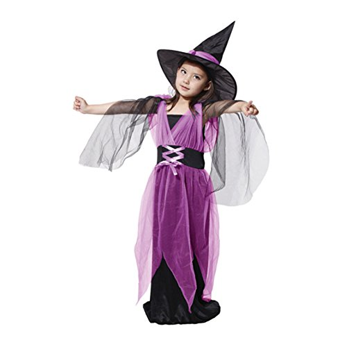 CP0125/XL Deguisement de sorciere Violet (130-140cm)