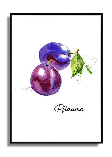 Wandbild Kunstdruck Poster PFLAUME im A4 Format, moderne Bild Deko für die Küche