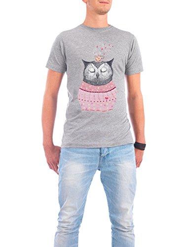 """Design T-Shirt Männer Continental Cotton """"Owl lover of coffee"""" - stylisches Shirt Tiere Natur von Valeriya Korenkova Grau"""