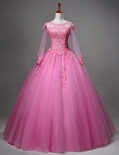 HY&OB Princess Jewel Hals Stock Länge Spitze Tüll Prom Formale Abendkleid Mit Kristall Perlen Lochmuster, Fuchsia, S (Hochzeit Kleid Stock Länge)