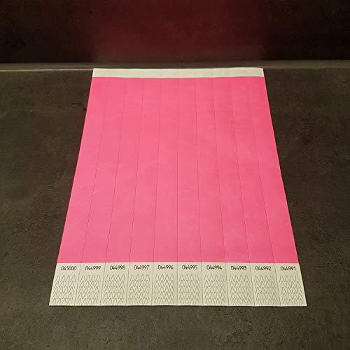 powerpreis24 22 versch Farben 100-500-1000 Stück Auswahl Einlassbänder Kontrollbänder Eintrittsbänder Partybänder Securebänder aus Tyvek (100 Stück, Neon-Pink)