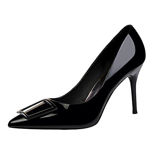 LIANGXIE Ladies Pointed Toe Stilettos Patent Leder Schnauze Schuhe Hocker High-Heeled Schuhe Größe Überdosis Mode Thin Shallow High Heels,Black,34 Patent Dolly