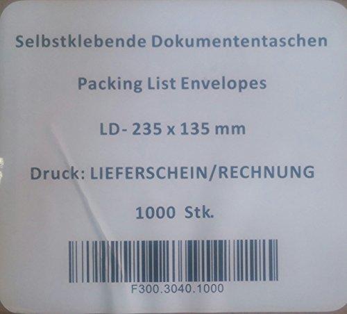 1000Rosso Buste bolla di consegna DIN lungo tasche porta documenti Carta di accompagnamento guscio